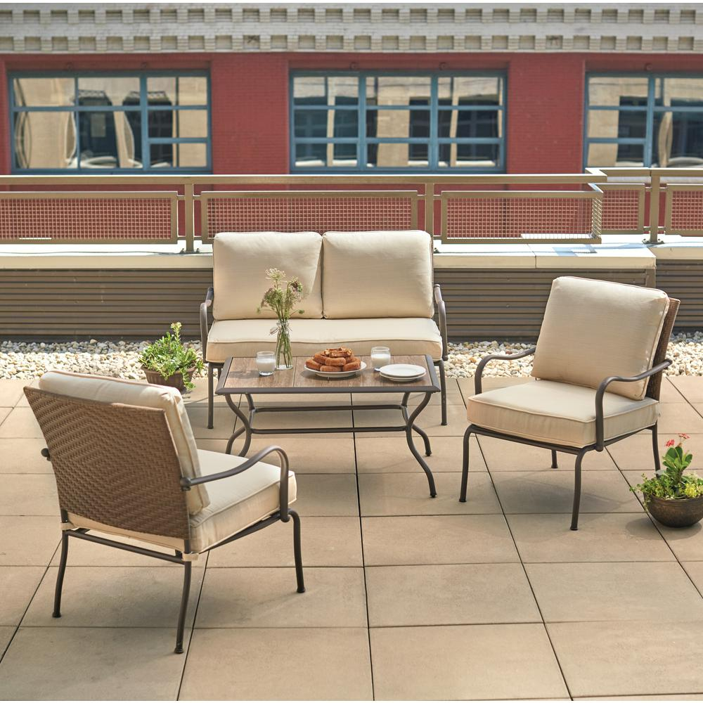 Hampton bay pin oak 4 piece wicker patio conversation set for Patio conversation sets