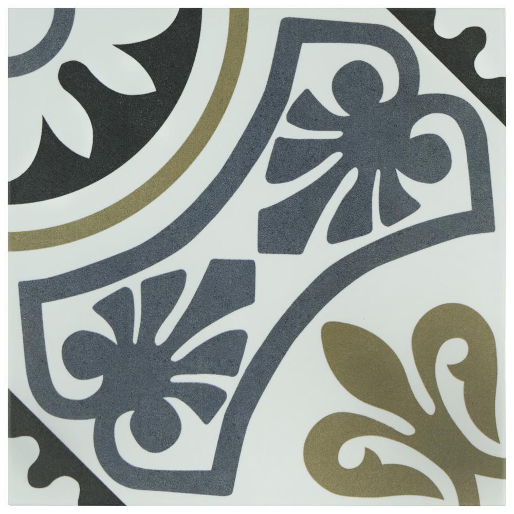 MerolaTile Merola Tile Majestic Tiena Blue Encaustic 9-3/4 in. x 9-3/4 in. Porcelain Floor and Wall Tile (11.11 sq. ft. / case), Multi / Medium Sheen