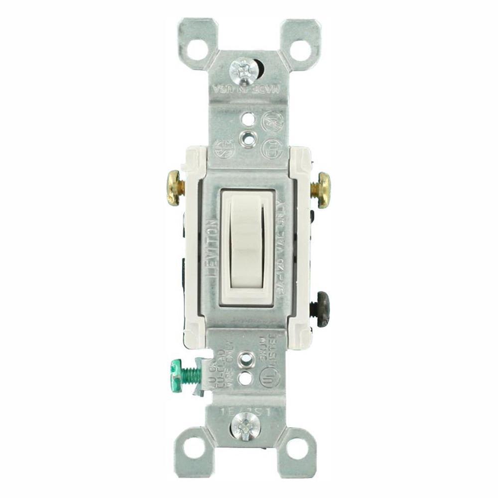 Leviton 15 Amp 3-Way Toggle Switch, White (18-Pack)