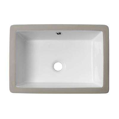 18 in. Undermount Bathroom Vessel Sink Modern Rectangle Porcelain Ceramic Lavatory Vanity Bathroom Sink in Pure White