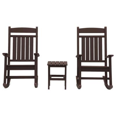 Classic Rocker Chocolate 3-Piece Plastic Outdoor Chat Set