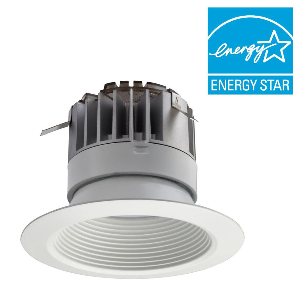 Lithonia Lighting 4 in. White Recessed LED Baffle Downlight