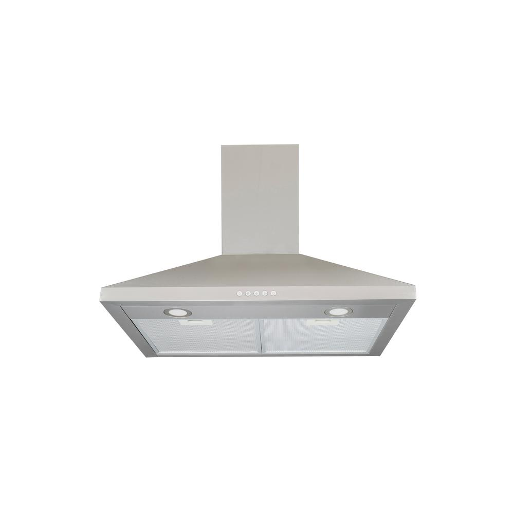 30 in. Wall-Mounted Range Hood in Stainless Steel with LED Light