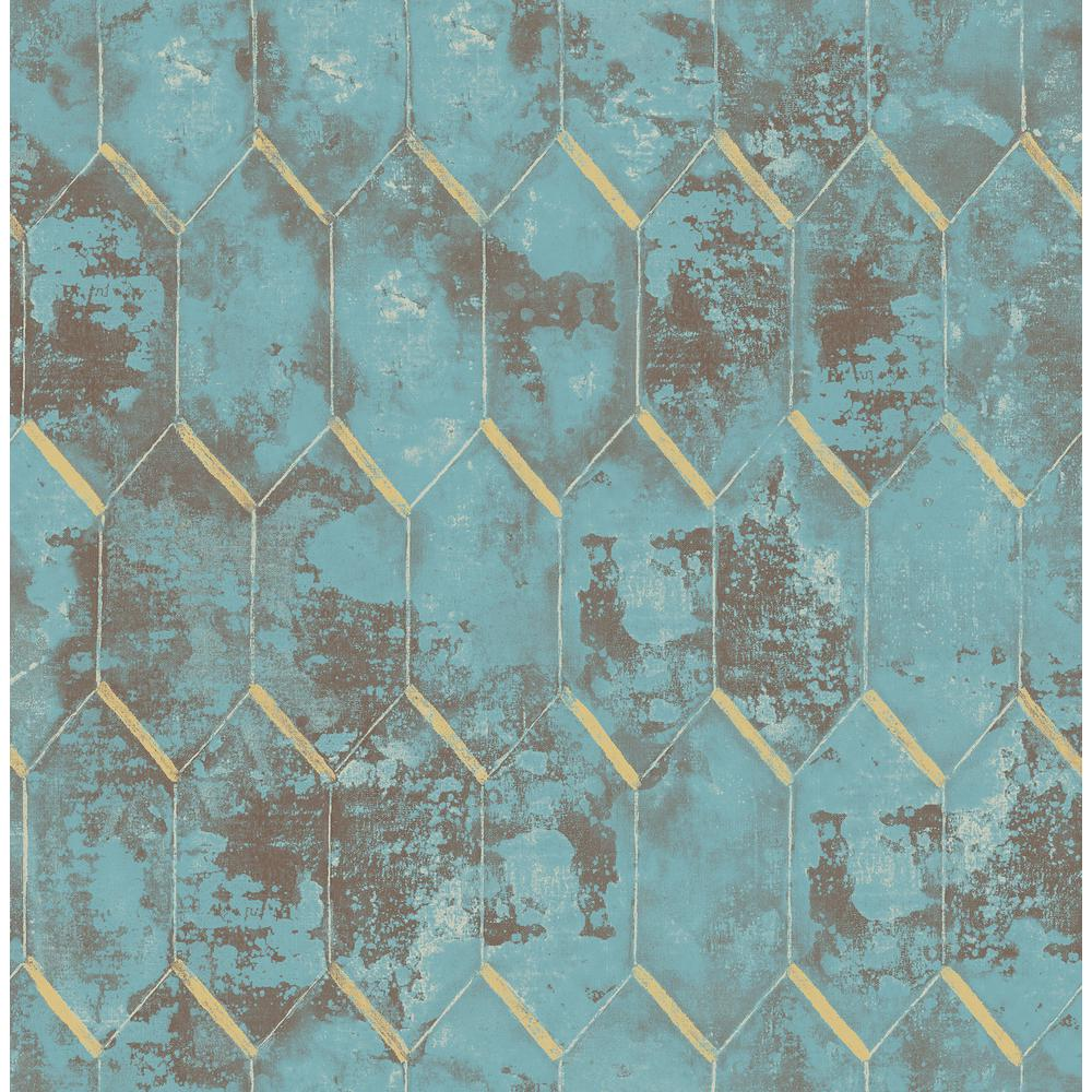 Seabrook Designs Whitney Metallic Copper And Teal