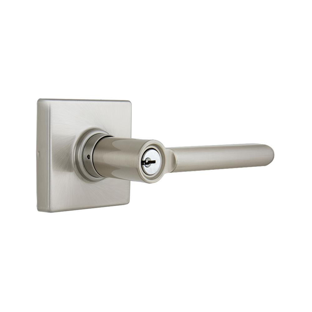 Defiant Tonbridge Satin Nickel Keyed Entry Door Lever with Square Rose