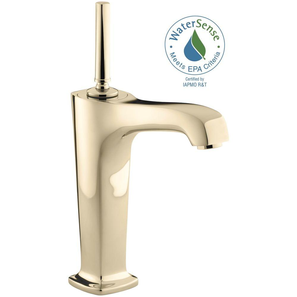 KOHLER Margaux Single Hole Single-Handle Low Arc Vessel Bathroom Faucet in Vibrant French Gold
