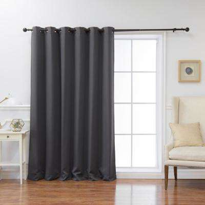 Wide Basic 80 in. W x 108 in. L Blackout Curtain in Dark Grey