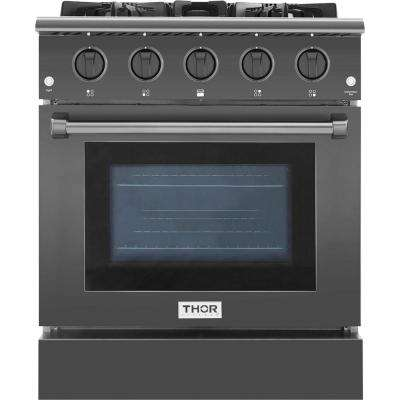 Pre-Converted Propane 4.2 cu. ft. Single Oven Gas Range in Black Stainless Steel