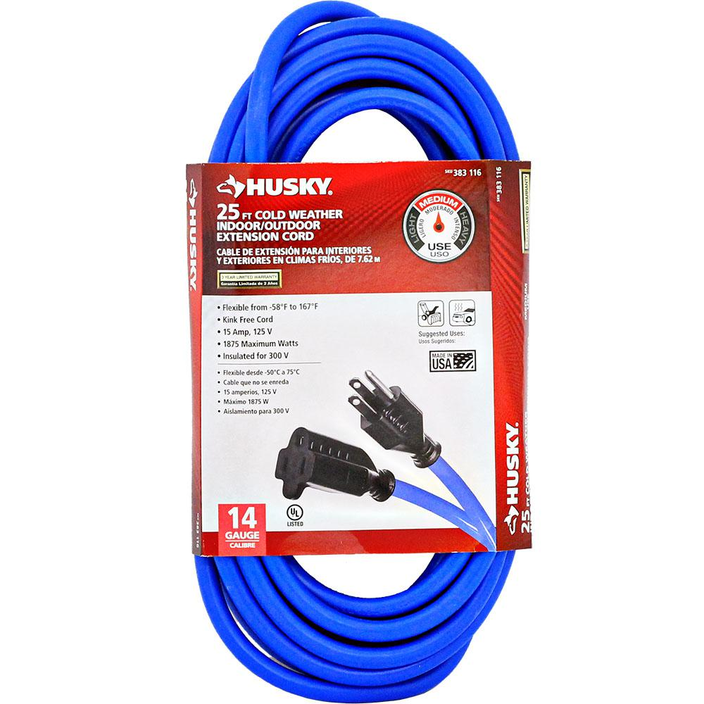 Husky 25 ft. 14/3 (-50°) Cold Weather Extension Cord-748-143025HC4 ...