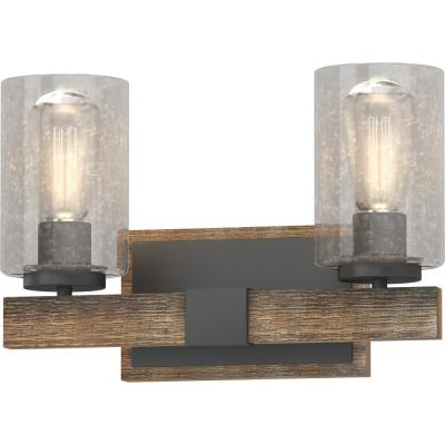 2-Light Indoor Black Walnut Bath or Vanity Light Bar or Wall Mount with Clear Seedy Bubble Glass Cylinder Shades