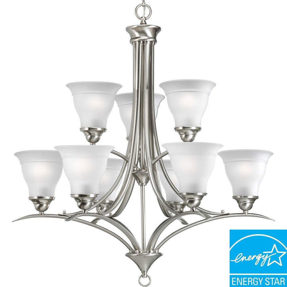 Progress Lighting Trinity Collection 9-Light Brushed Nickel Chandelier