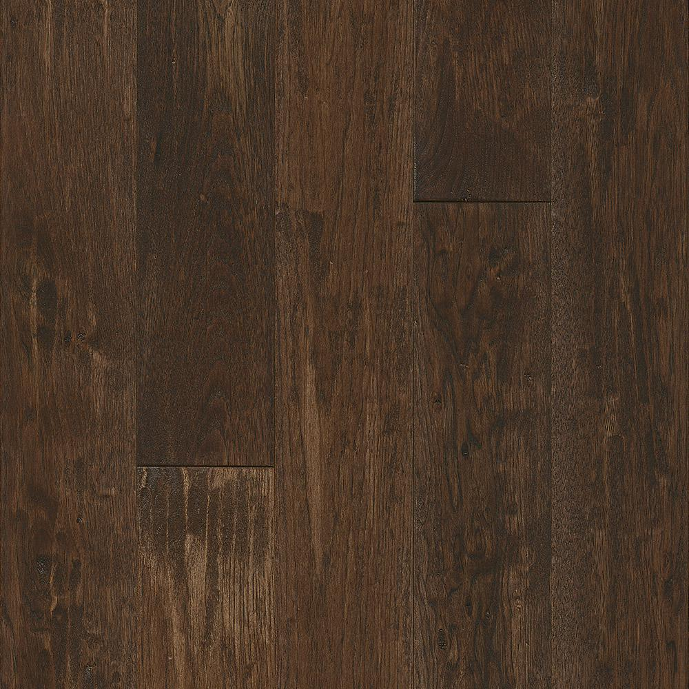 Revolutionary Rustics Take Home Sample Hickory Sculpted Coffee Flavor Solid Hardwood Flooring 5 In. X 7 In.
