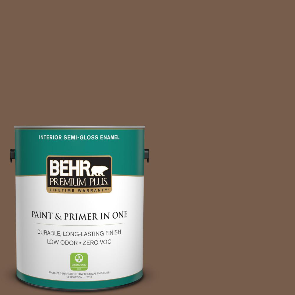 1-gal. #250F-7 Melted Chocolate Zero VOC Semi-Gloss Enamel Interior Paint