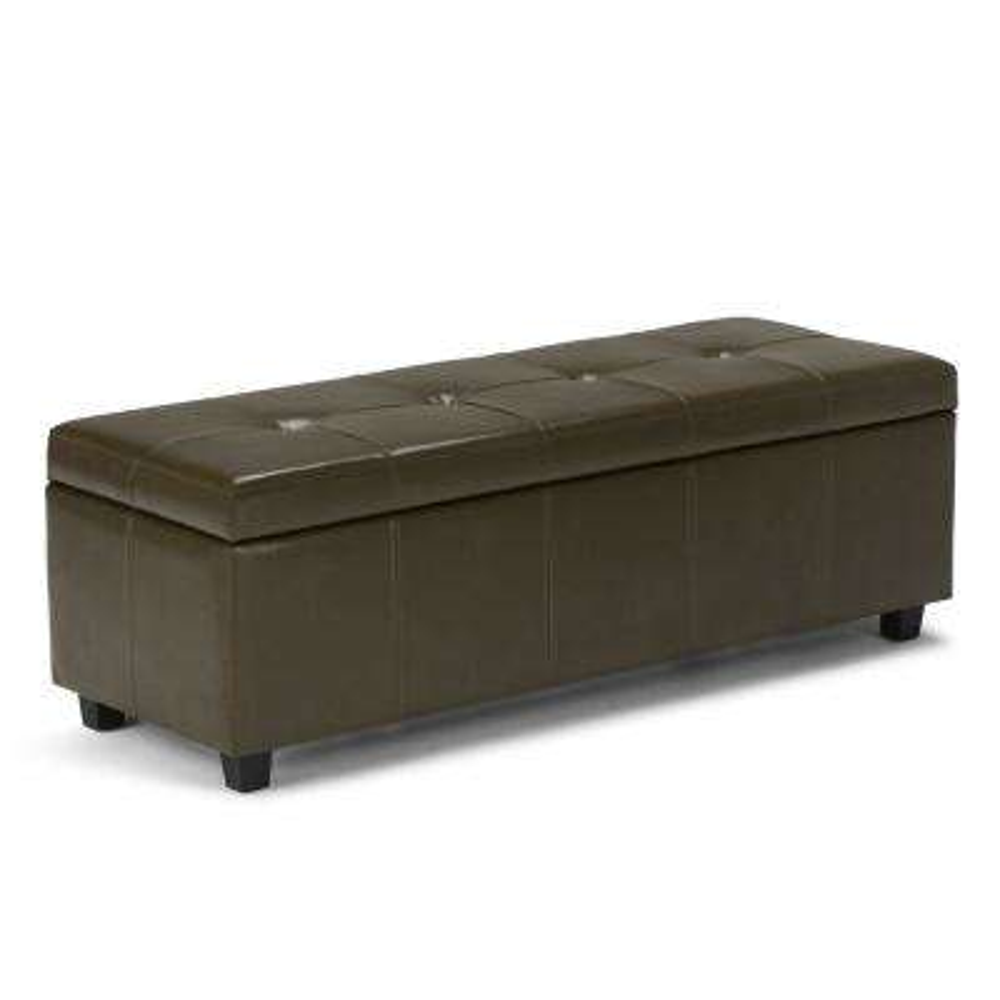 Castleford Deep Olive Green Storage Bench