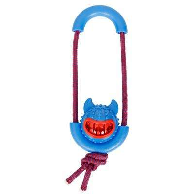 Blue Sling-Away Treat Dispensing Launcher with Natural Jute, Squeak Rubberized Dog Toy