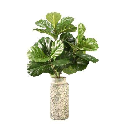 Indoor Fiddle Leaf Fig Branches in Tall Round Ceramic Vase