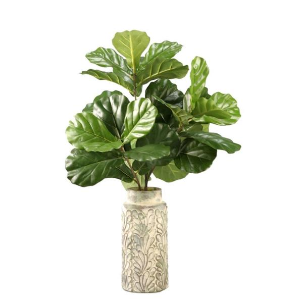 D&W Silks Indoor Fiddle Leaf Fig Branches in Tall Round Ceramic Vase