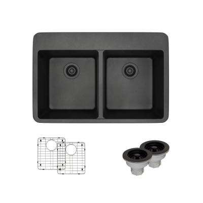 Drop-In Composite Granite 33 in. Double Bowl Kitchen Sink in Carbon