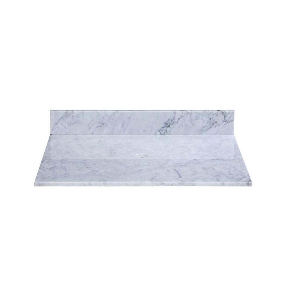 RYVYR 25 in. Marble Vanity Top in Carrara White without Basin ...