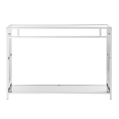 Town Square 42 in. Chrome/Clear Standard Rectangle Glass Console Table