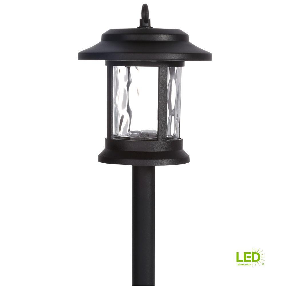 Solar Black Outdoor Integrated LED Lantern Landscape Path Light with Hammered