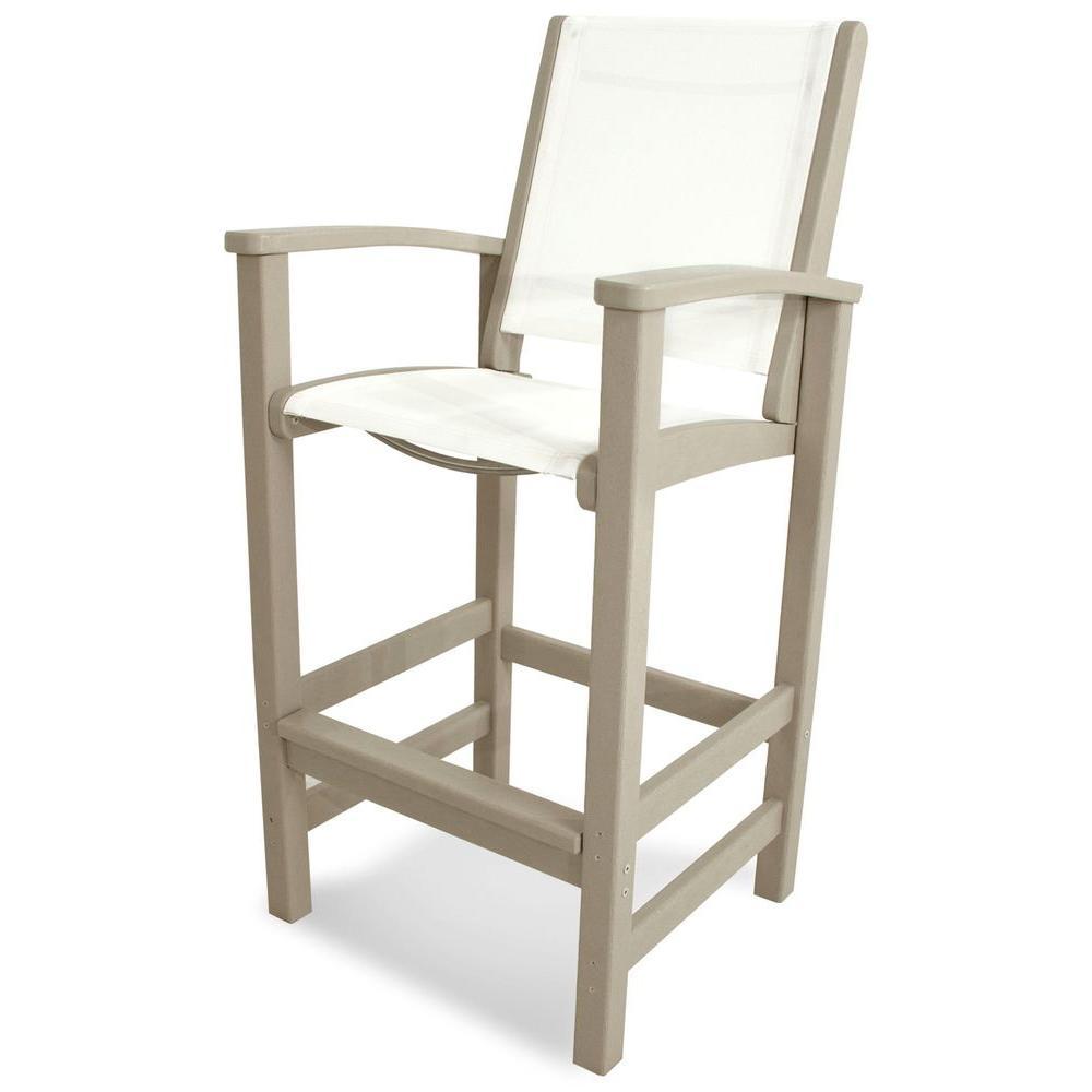 POLYWOOD Coastal Sand Patio Bar Chair with White Sling