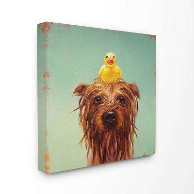 """30 in. x 30 in. """"Wet Dog with a Rubber Ducky Turquoise Bath Painting"""" by Lucia Heffernan Canvas Wall Art"""