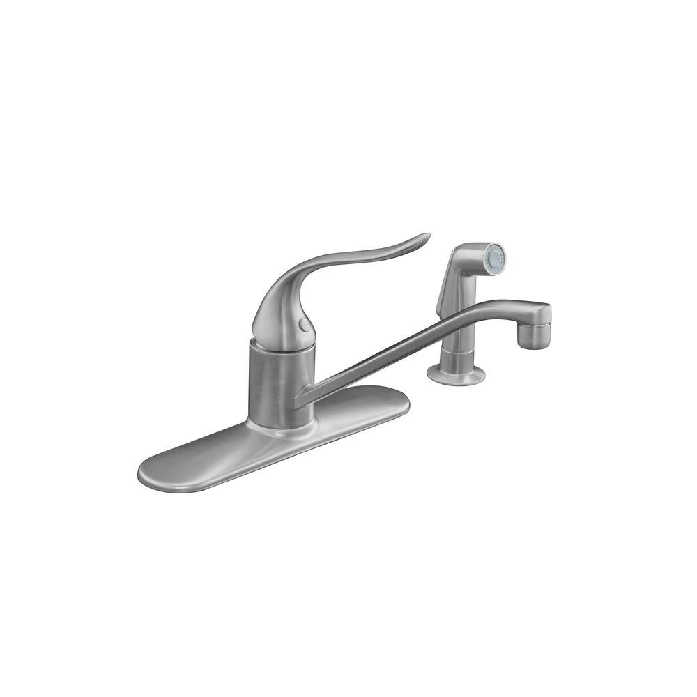 Kohler coralais single handle standard kitchen faucet in brushed chrome k 15172 f g the home depot for Kohler coralais bathroom faucet
