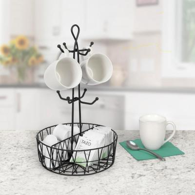Paxton 8-Hook Mug Tree Coffee & Tea Cup Display Stand Holder & Condiment Station Organizer, Black