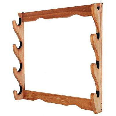 4-Gun Natural Wooden Wall Rack
