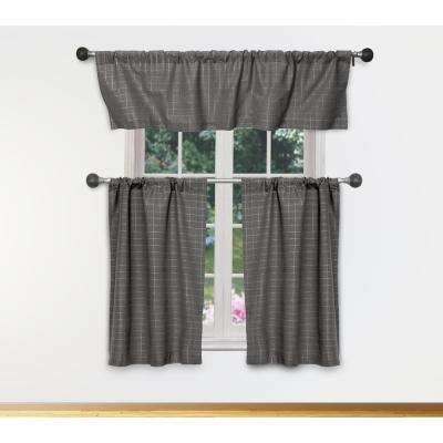 Moira Kitchen Valance in Grey-Silver - 15 in. W x 58 in. L (3-Piece)
