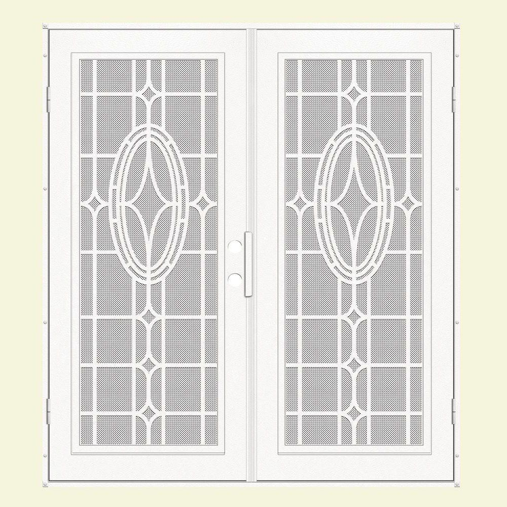 Unique Home Designs 60 in. x 80 in. Modern Cross White Left-Hand Recessed Mount Aluminum Security Door with White Perforated Screen