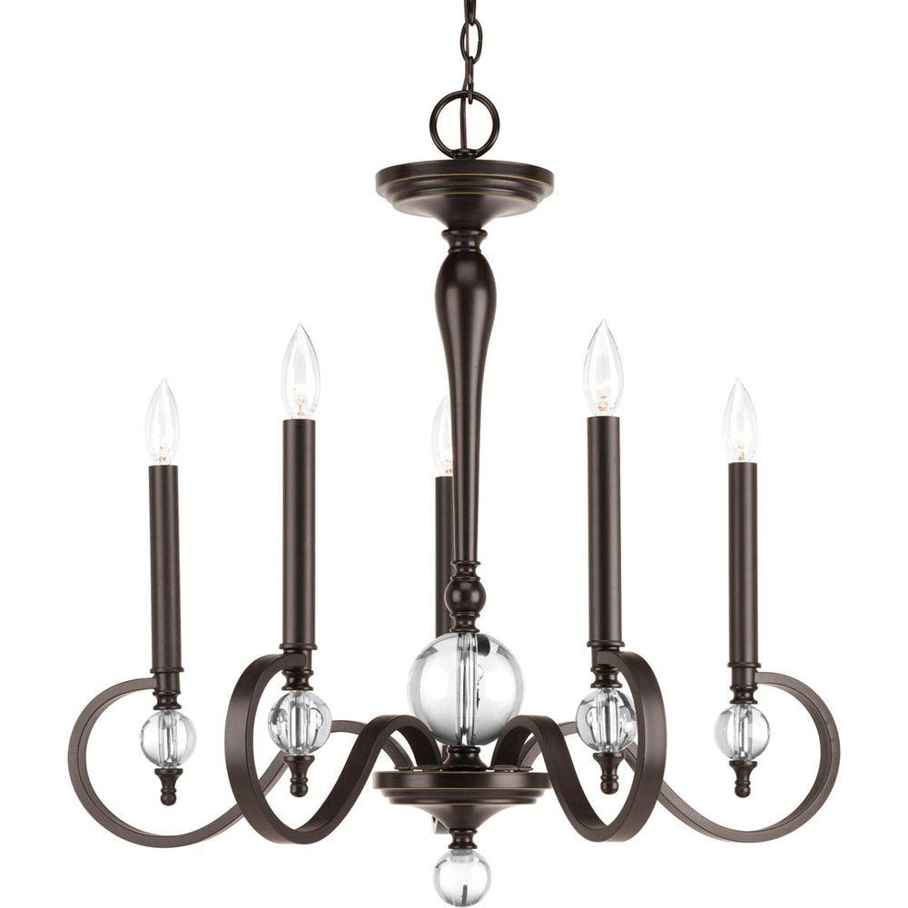 Esteem Collection 5 Light Antique Bronze Chandelier