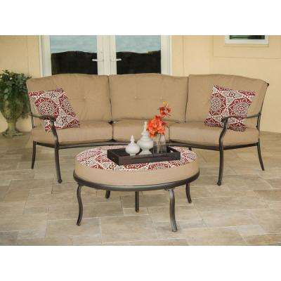 Hanover Traditions Bronze 2-Piece Aluminum Patio Conversation Set with Natural Oat Cushions