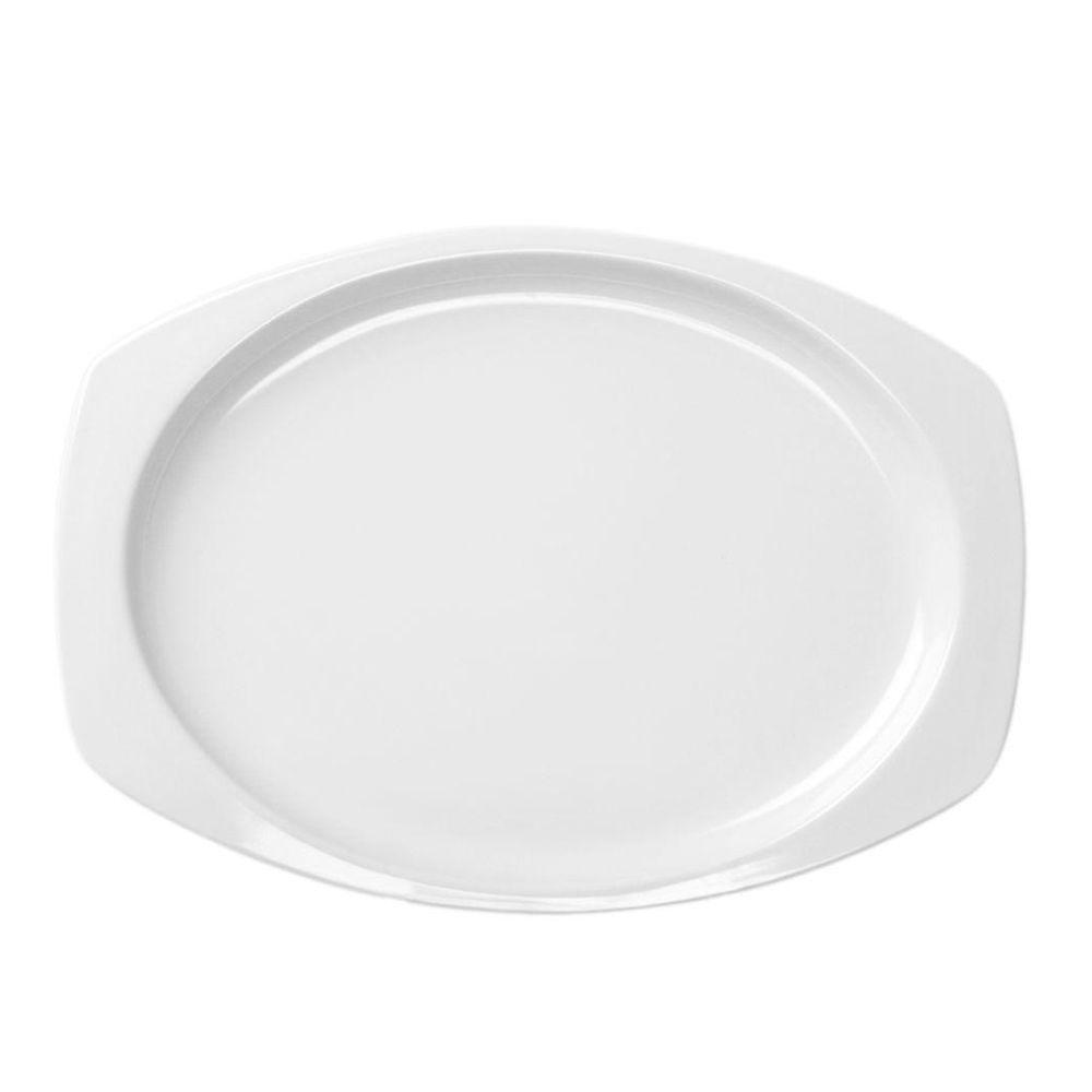 Restaurant Essentials Coleur 12-1/2 in. x 9 in. Recsaddleback Tangular Platter in White (12-Piece)