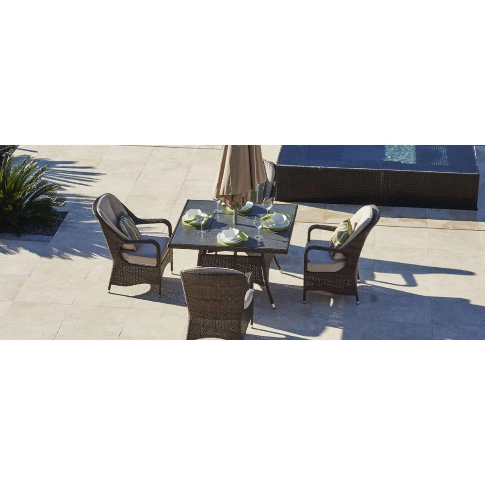 Leoma 5 piece wicker outdoor patio dining set with beige cushions