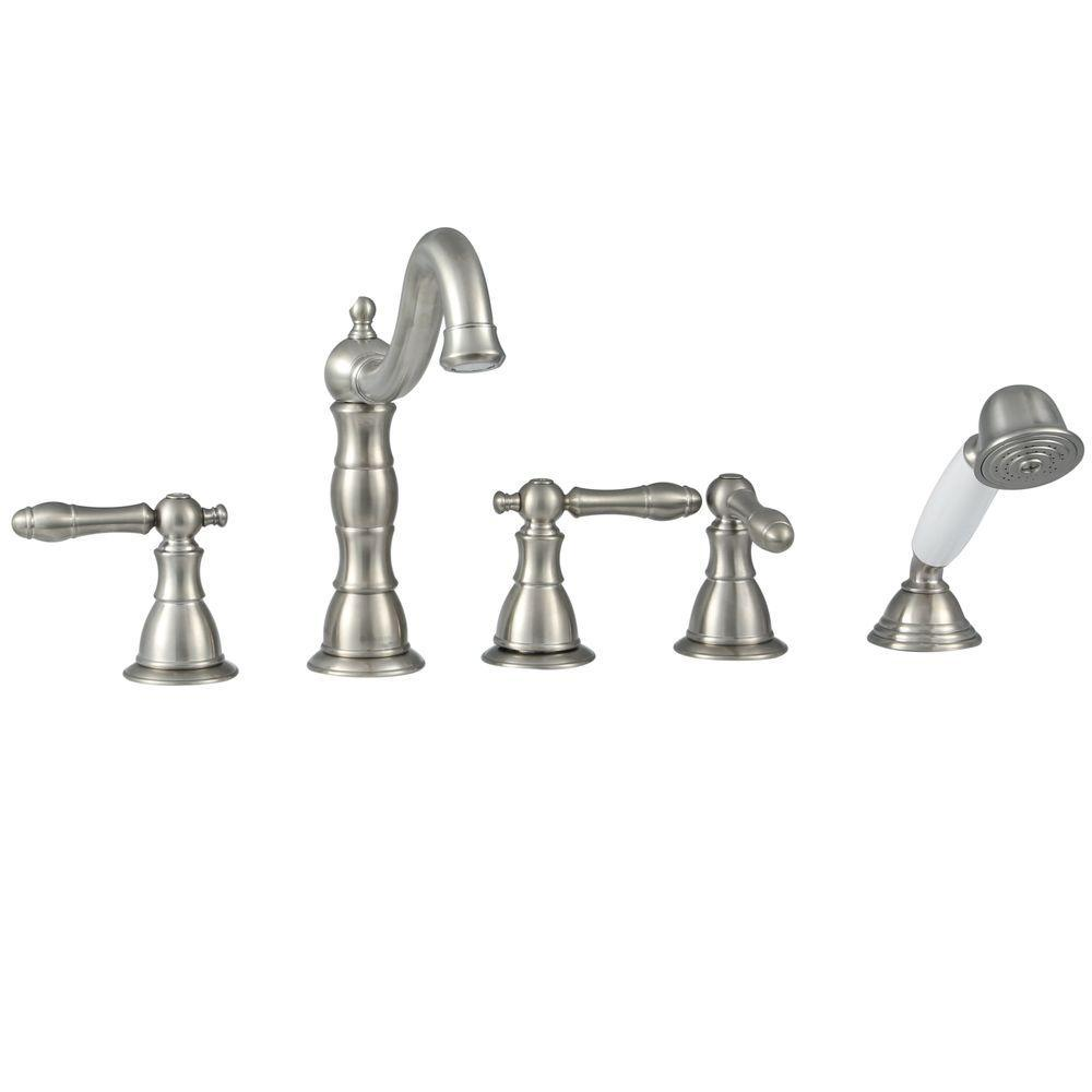 Glacier Bay Lyndhurst 2-Handle Deck-Mount Roman Tub Faucet with Handheld Shower in Brushed Nickel