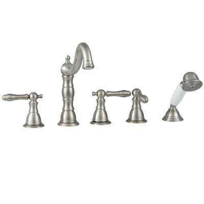 Lyndhurst 2-Handle Deck-Mount Roman Tub Faucet with Handheld Shower in Brushed Nickel