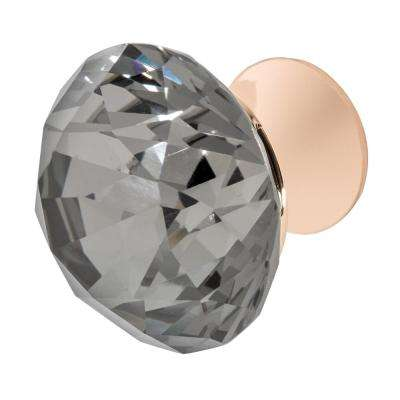 Nina 1-3/8 in. Rose Gold with Smoke Crystal Cabinet Knob