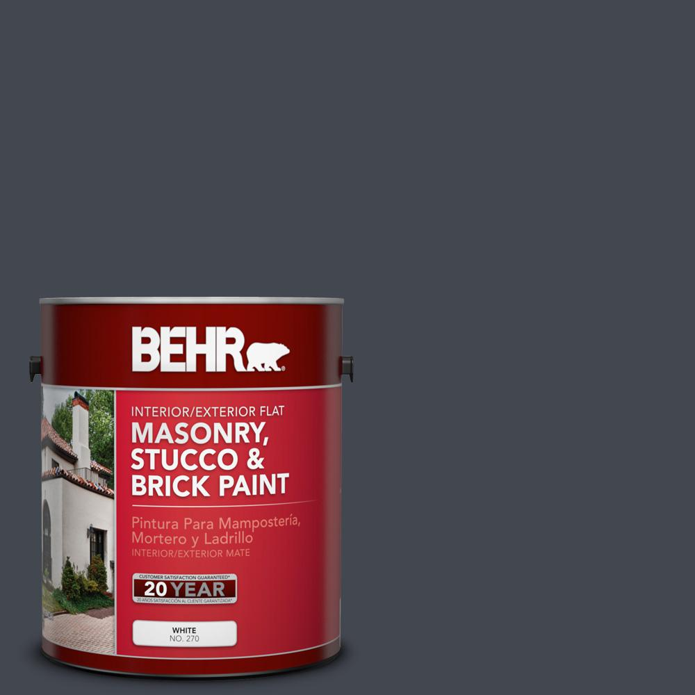 1 gal. #N490-7 Ink Black Flat Interior/Exterior Masonry, Stucco and Brick