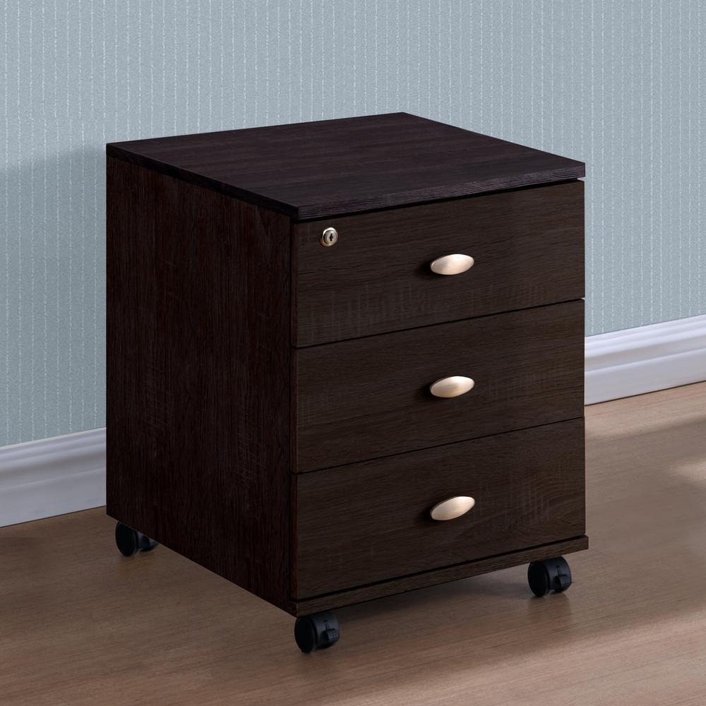 Folio Black Espresso 3-Drawer Storage Cabinet