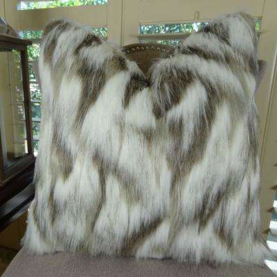 Tibet Fox 12 in. x 20 in. Ivory and Beige Hypoallergenic Down Alternative Handmade Throw Pillow