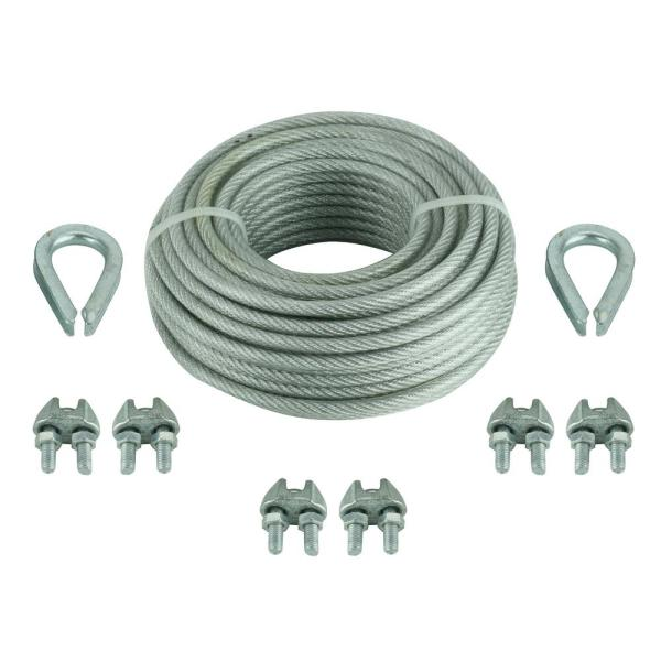 1/8 in. x 30 ft. Vinyl Coated Steel Wire Rope Kit