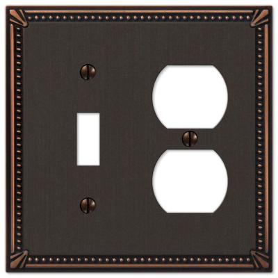 Imperial Bead 2 Gang 1-Toggle and 1-Duplex Metal Wall Plate - Aged Bronze
