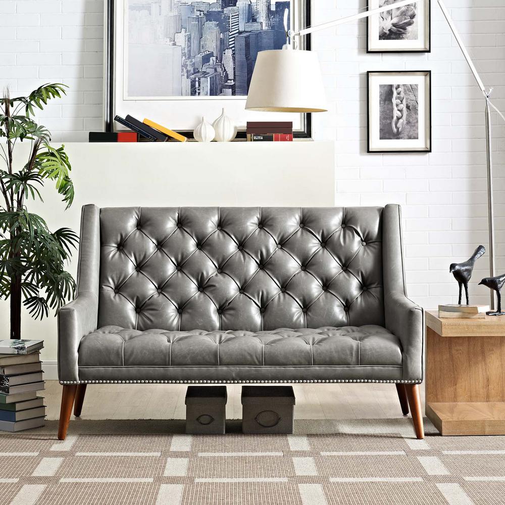 MODWAY Peruse Gray Upholstered Vinyl Loveseat EEI-2463-GRY