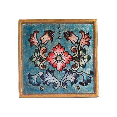 4 in. 4-Piece Square Gemstone Blue Coaster Set