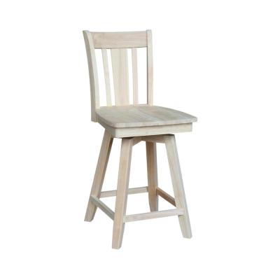 San Remo 24 in. Unfinished Wood Swivel Bar Stool