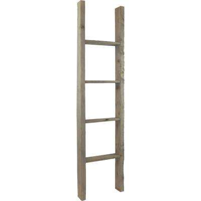 19 in. x 48 in. x 3 1/2 in. Barnwood Decor Collection Pebble Grey Vintage Farmhouse 3-Rung Ladder