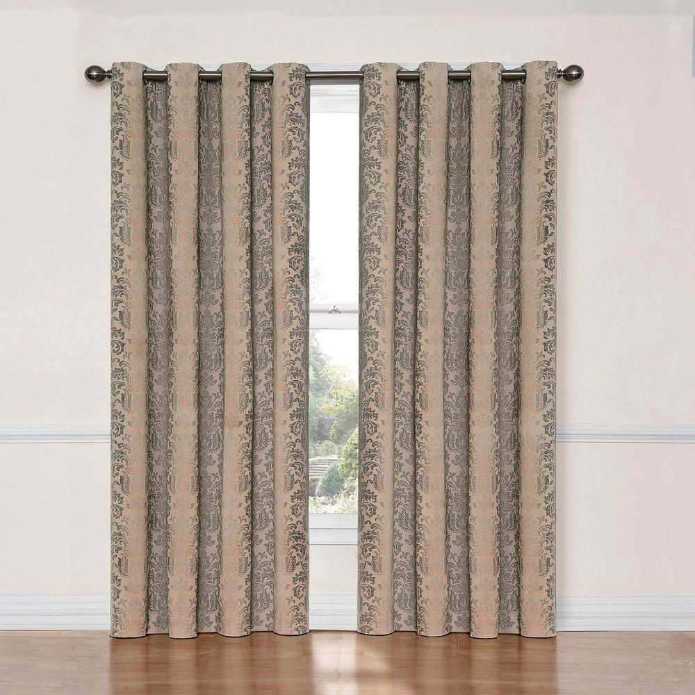 Nadya Print Blackout Window Curtain Panel in Linen - 52 in.