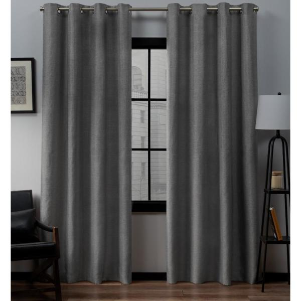 Loha 54 in. W x 84 in. L Linen Blend Grommet Top Curtain Panel in Black Pearl (2 Panels)